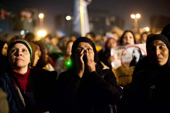 Egyptian women gather to denounce sexual violence and harassment against women in Cairo, Egypt.