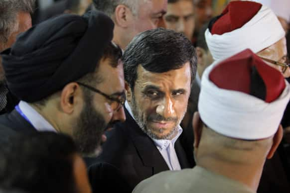 Iran`s President Mahmoud Ahmadinejad attends a press conference with Egyptian Sunni clerics at Al-Azhar headquarters in Cairo. Egypt`s most prominent Muslim cleric, the sheik of Al-Azhar, has warned Iranian President Mahmoud Ahmadinejad against interfering in Arab Gulf countries.