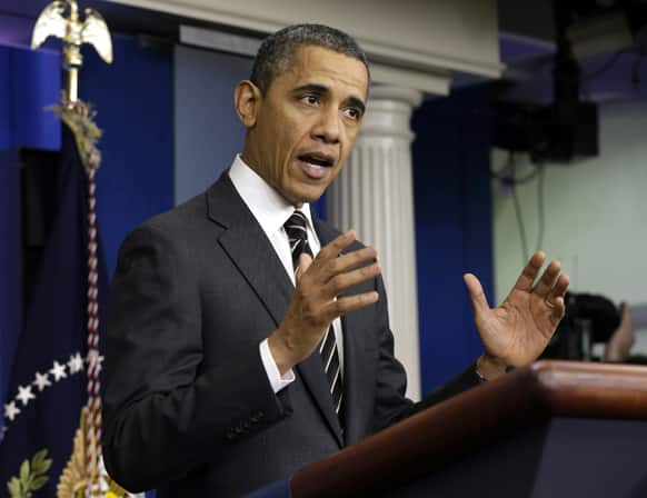 President Barack Obama gestures as he speaks in the James Brady Press Briefing Room of the White House in Washington.