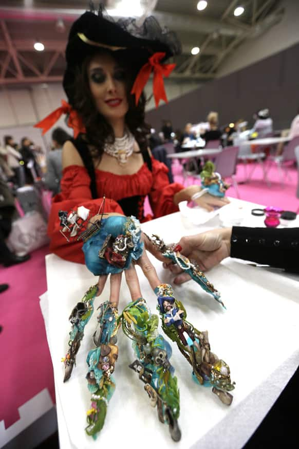 A model displays a creation called