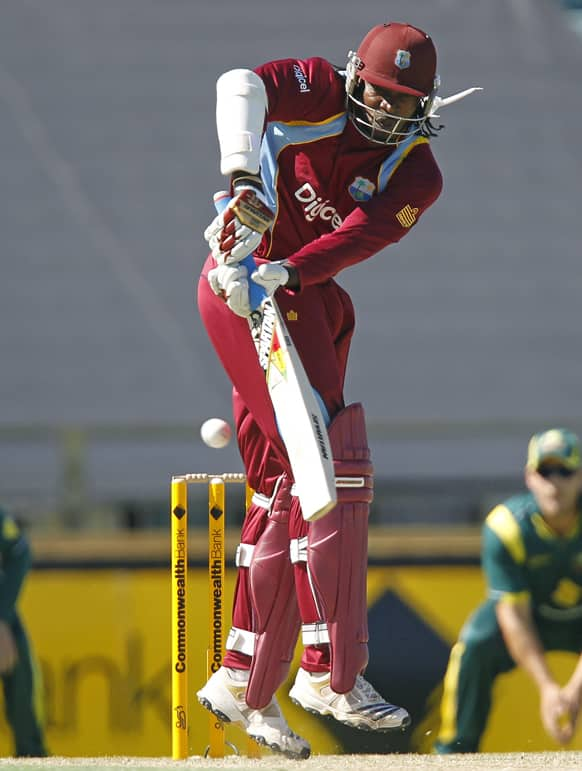 West Indies` Chris Gayle plays a shot against Australia during their one day international cricket match in Perth, Australia.
