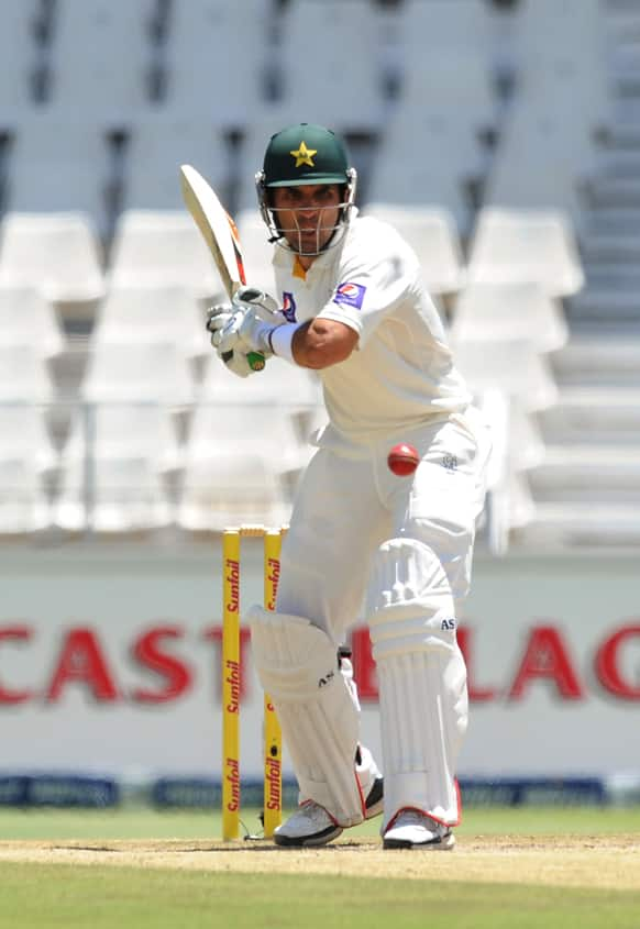 Pakistan`s Misbah-ul-Haq bats during their cricket test match against South Africa in Johannesburg, South Africa.