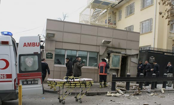 Gate 2 of the embassy just after a suicide bomber had detonated an explosive device at the entrance of the U.S. Embassy in the Turkish capital, Ankara.
