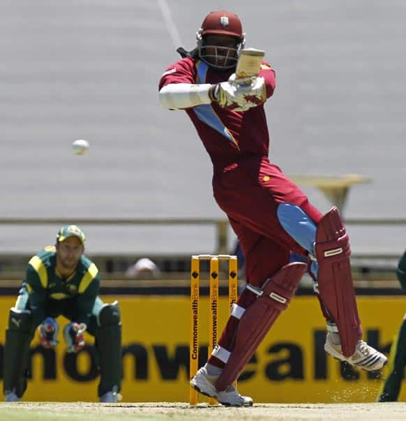 West Indies Chris Gayle hooks the ball for 4 runs against Australia during their one day international cricket match in Perth.
