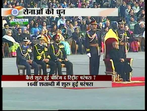 The Chief of Army, Navy and Air Force at the Beating Retreat ceremony 2013.