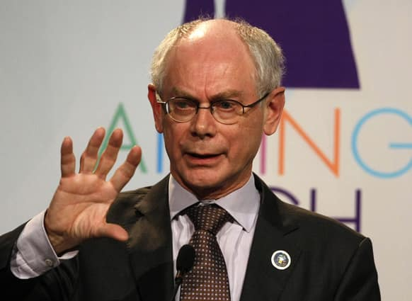 European Council President Herman Van Rompuy gestures as he speaks during a news conference at the CELAC-EU summit in Santiago, Chile.