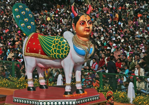 A tableaux representing the southern Indian state of Karnataka, showing local handicraft, drives by during Republic Day parade, in New Delhi.