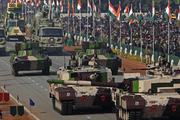 Army artillery is displayed during Republic Day parade, in New Delhi.
