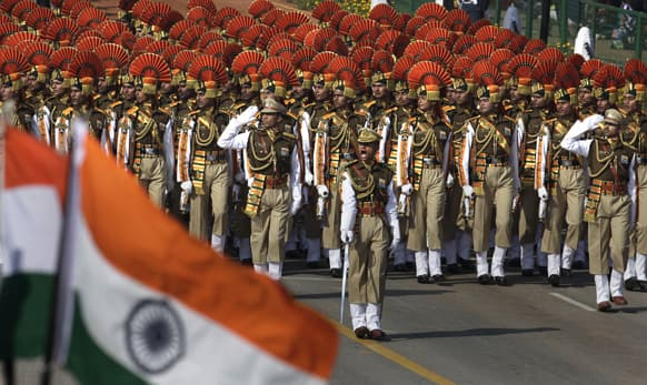 Paramilitary soldiers march during Republic Day celebrations, in New Delhi.