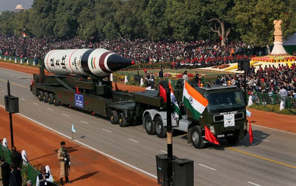 The long range ballistic Agni-V missile is displayed during Republic Day parade, in New Delhi. Indian across the country celebrated Republic day, which commemorates the 1950 adoption of its constitution. The celebrations include military marches and display of weaponry, cultural pageants and dances.