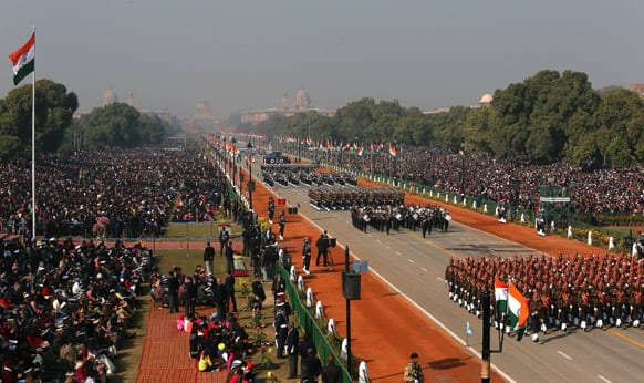 Soldiers march during Republic Day parade, in New Delhi.