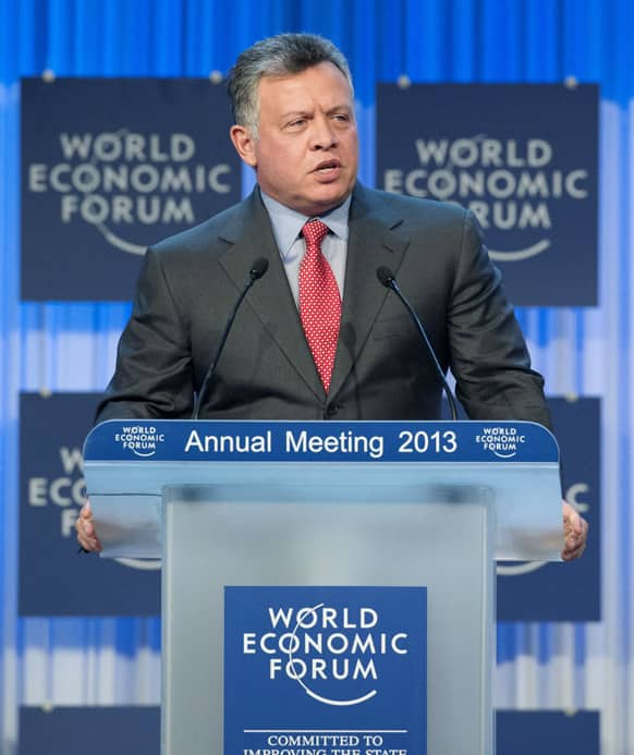 King Abdullah II of Jordan speaks to the assembly at the 43rd Annual Meeting of the World Economic Forum, WEF, in Davos, Switzerland.