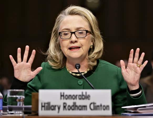 Hillary Rodham Clinton testifies on Capitol Hill in Washington, before the Senate Foreign Relations Committee hearing on the deadly September attack on the US diplomatic mission in Benghazi, Libya, that killed Ambassador Chris Stevens and three other Americans.