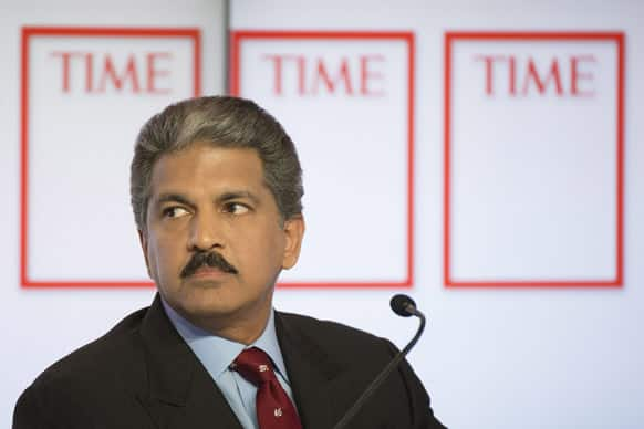 Anand G. Mahindra, Chairman and Managing Director, Mahindra and Mahindra, speaks during a panel session on the first day of the 43rd Annual Meeting of the World Economic Forum in Davos, Switzerland.