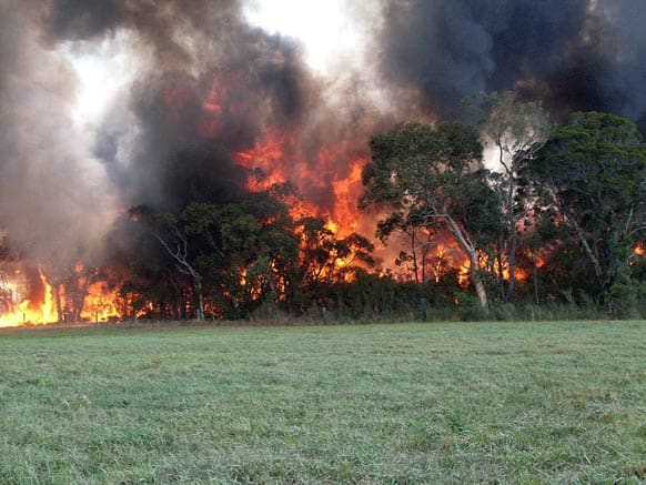 This photo provided by the NSW Rural Fire Service, a fire burns near Cessnock, Australia.