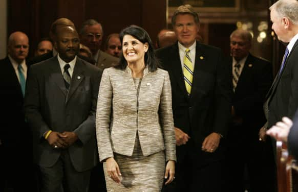 South Carolina Gov. Nikki Haley enters the chamber to give her State of The State address to the joint session of the legislature at The Statehouse in Columbia, S.C.