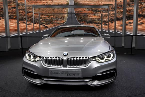The BMW 4 Series Coupe Concept appears on display at media previews for the North American International Auto Show in Detroit.