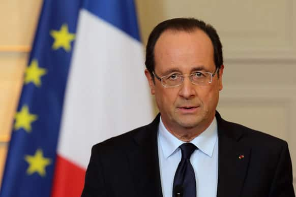 France`s President Francois Hollande delivers a speech on the situation in Mali at the Elysee Palace in Paris.