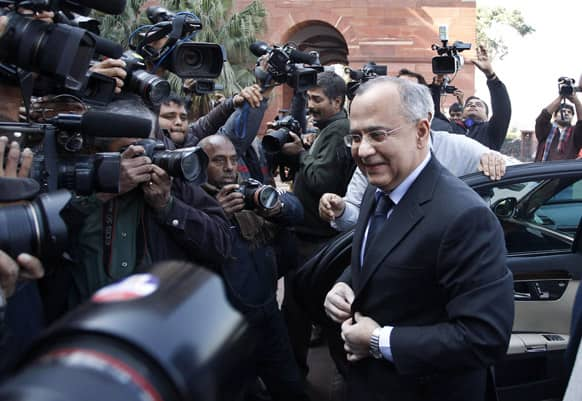Pakistan High Commissioner to India Salman Bashir arrives at the Indian External Affairs Ministry in New Delhi, India.