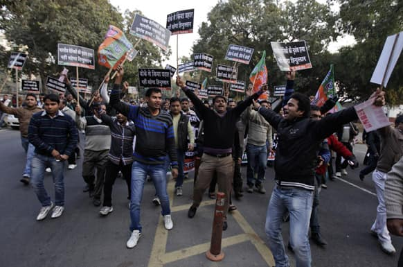 Supporters of India`s main opposition Bharatiya Janta Party (BJP) shout slogans during a protest against Pakistan in New Delhi, India.