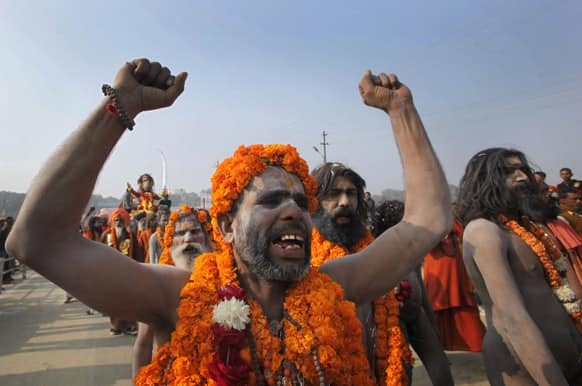Naga Sadhus, or Naked Hindu holy men, during a religious procession as they arrive for Mahakumbh, in Allahabad.