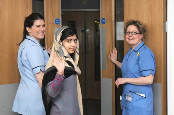Malala Yousufzai says goodbye as she is discharged from the hospital to continue her rehabilitation at her family's temporary home in England.