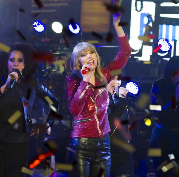 Taylor Swift performs in Times Square during New Year's Eve celebrations, in New York.