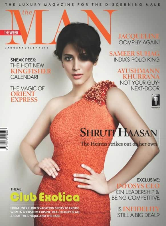 Shruti Hasaan adds a touch of glamour on the cover of the January 2013 issue of The Man magazine.