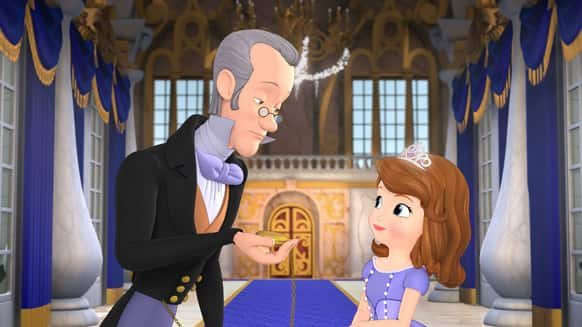 This image released by Disney Junior shows characters, Baileywick, voiced by Tim Gunn, left, and Princess Sofia, voiced by Ariel Winter in a scene from the TV film,