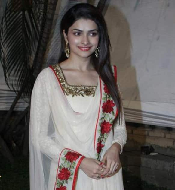 Prachi Desai looks stunning in white and red at RN Singh's birthday party.