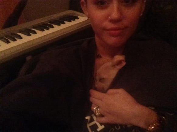 Miley Cyrus tweets a pic with her little pup writing: