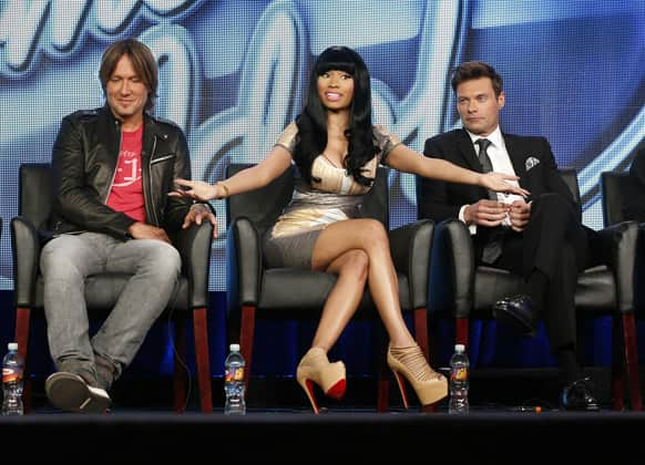 Keith Urban, from left, Nicki Minaj and Ryan Seacrest from