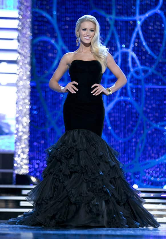 Miss DC, Allyn Rose, during the Evening Wear portion of preliminary competition at the 2013 Miss America Pageant in Las Vegas.