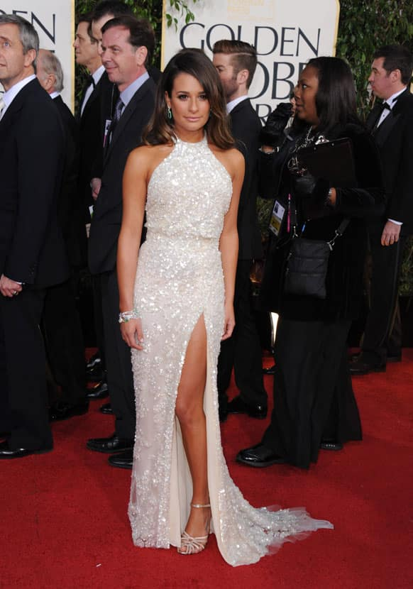 Actress Lea Michele arrives at the 70th Annual Golden Globe Awards at the Beverly Hilton Hotel.