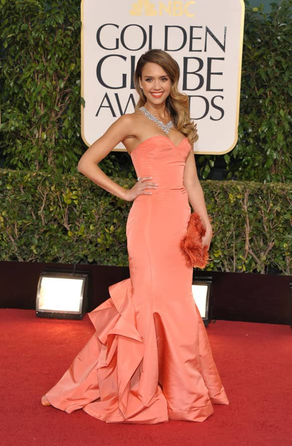Actress Jessica Alba arrives at the 70th Annual Golden Globe Awards at the Beverly Hilton Hotel.