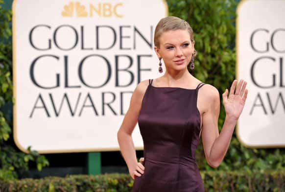 Musician Taylor Swift arrives at the 70th Annual Golden Globe Awards.