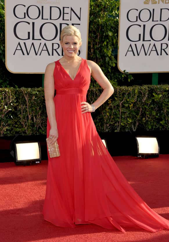 Megan Hilty arrives at the 70th Annual Golden Globe Awards.