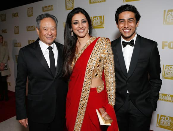 Director Ang Lee, actors Tabu and Suraj Sharma attend the Fox Golden Globes Party in Beverly Hills, Calif.