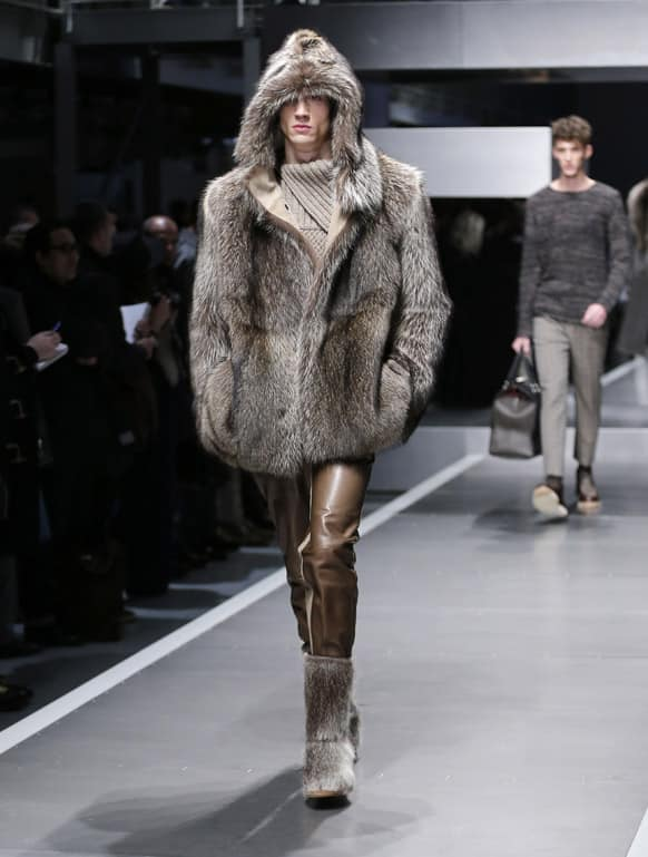 A model wears a creation for Fendi men's Fall-Winter 2013-14 collection, part of the Milan Fashion Week.