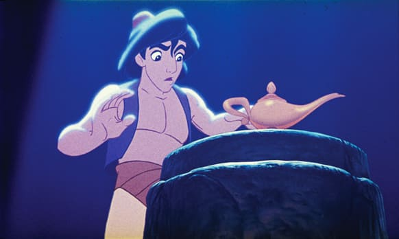 This undated publicity photo provided by Disney Theatrical Productions shows Aladdin with a lamp in a scene from the 1992 animated film,
