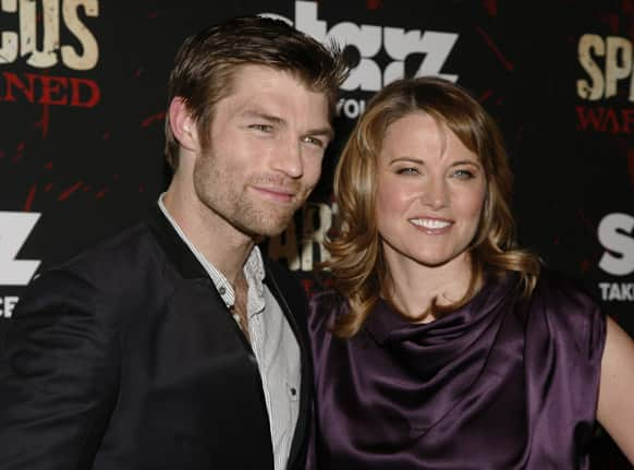 Actress Liam McIntyre and actress Lucy Lawless, right, attend the
