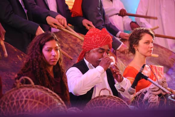 Rajasthani artists perform at the gala event.