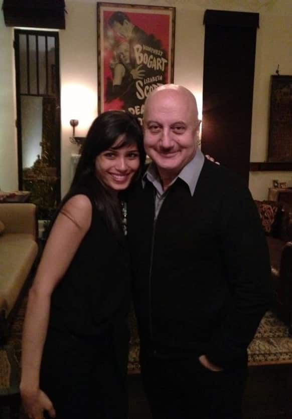 Anupam Kher shares this pic of his with Freida Pinto on Twitter.