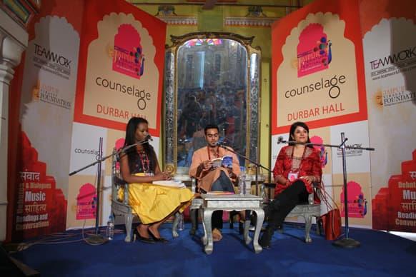 Aita Ighodaro, Ravinder Singh and Kishwar Desai addressing the audience.