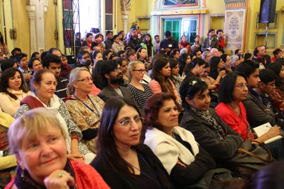 The audience are all ears as Deborah Moggach shares thoughts during the session titled 'The Best Exotic Marigold Hotel'.