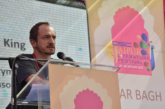 British journalist and the author of several non-fiction books Jason Burke addresses the crowd in a session titled 'Return of a King'.