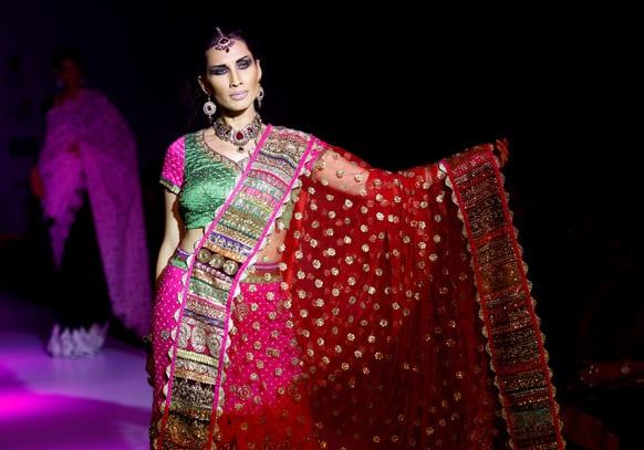 A model displays an ethnic creation by Vandana Raj at the Bangalore Fashion Week.