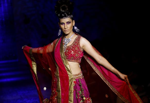 A model displays an ethnic creation by Ramesh Dembla at the Bangalore Fashion Week.