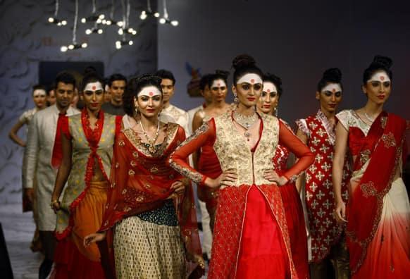Models present creations by Abhishek Dutta at the Bangalore Fashion Week.