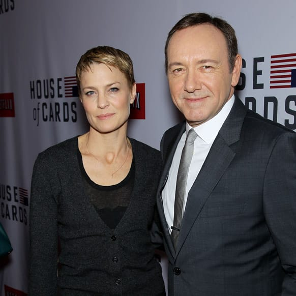 Actors Robin Wright, left, and Kevin Spacey at the premiere of the Netflix original series,